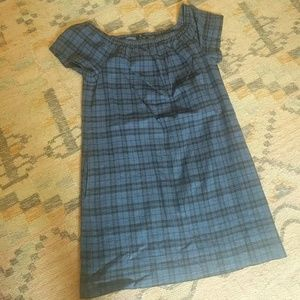 Madewell Off The Shoulder Plaid Dress